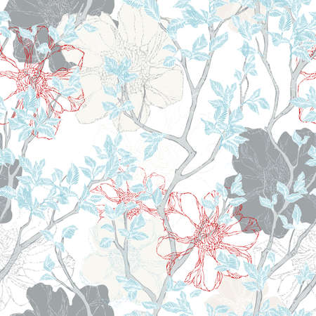 Floral background. Texture for textiles, fabrics, souvenirs, packaging, greeting cards and scrapbooking. Фото со стока - 112474859