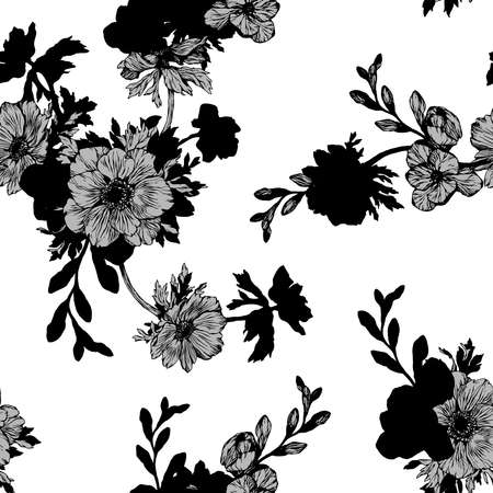 Floral background based on ink graphic. Texture for textiles, fabrics, souvenirs, packaging, greeting cards and scrapbooking. Фото со стока - 112474860