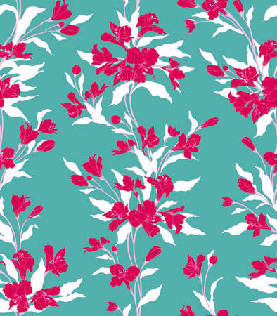 Floral background. Texture for textiles, fabrics, souvenirs, packaging, greeting cards and scrapbooking. Фото со стока - 112474861