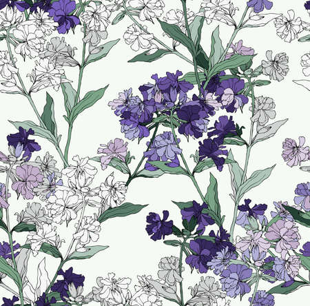 Floral background based on ink graphic. Texture for textiles, fabrics, souvenirs, packaging, greeting cards and scrapbooking. Ilustração