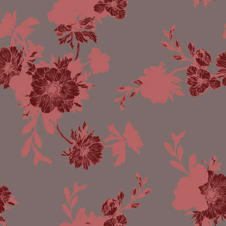 Floral background based on ink graphic. Texture for textiles, fabrics, souvenirs, packaging, greeting cards and scrapbooking. Фото со стока - 112474867