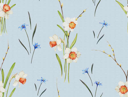 Floral background based on watercolor painting. Texture for textiles, fabrics, souvenirs, packaging, greeting cards and scrapbooking. Hand drawn seamless pattern. Фото со стока - 122310827