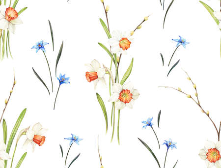 Floral background based on watercolor painting. Texture for textiles, fabrics, souvenirs, packaging, greeting cards and scrapbooking. Hand drawn seamless pattern. Фото со стока - 122310828