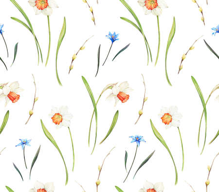 Floral background based on watercolor painting. Texture for textiles, fabrics, souvenirs, packaging, greeting cards and scrapbooking. Hand drawn seamless pattern. Фото со стока - 122310833