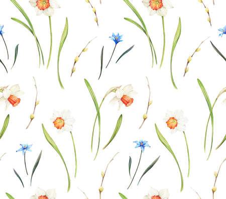 Sfondo floreale basato sulla pittura ad acquerello. Texture per tessuti, tessuti, souvenir, imballaggi, biglietti di auguri e scrapbooking. Reticolo senza giunte disegnato a mano.