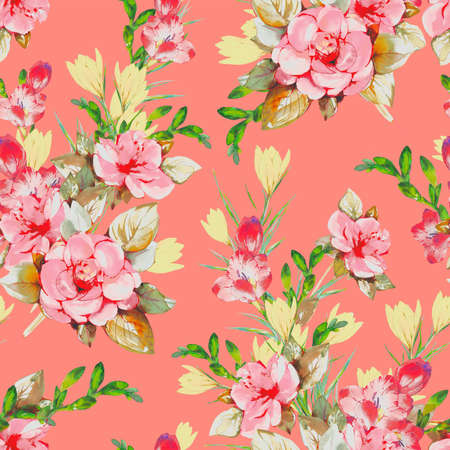 Floral background based on watercolor painting. Texture for textiles, fabrics, souvenirs, packaging, greeting cards and scrapbooking. Hand drawn seamless pattern. Фото со стока - 122310840