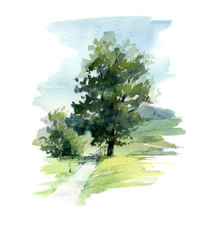 Abstract tree. Hand made illustration. Watercolor on paper. For prints, poster or card. Фото со стока - 122310845