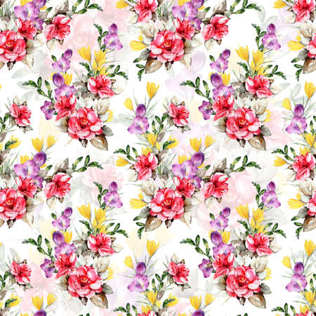 Floral background based on watercolor painting. Texture for textiles, fabrics, souvenirs, packaging, greeting cards and scrapbooking. Hand drawn seamless pattern. Фото со стока - 122310851