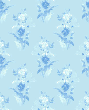 Floral background based on watercolor painting. Texture for textiles, fabrics, souvenirs, packaging, greeting cards and scrapbooking. Hand drawn seamless pattern.