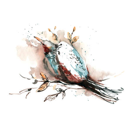Abstract bird. Watercolor illustration. Print for interior decor, packaging, greeting card, poster, wedding invitation and other design. Фото со стока - 122310866