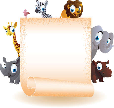 animals cartoon with board Vector