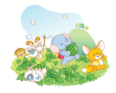 animals playing in the garden Vector
