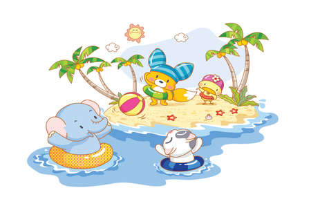 animals are playing on the beach Vector