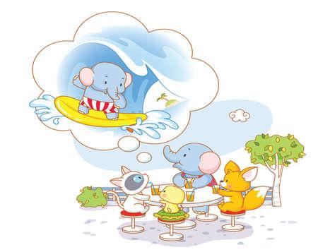 funny animal: animales divertidos dibujos animados de fiesta en la playa