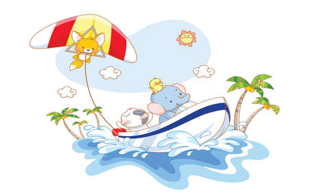 funny animals cartoon playing on the beach Vector