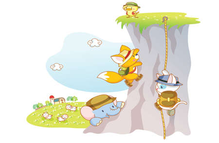 funny animals elephant,chicks,cat and squirrel are rock climbing Vector