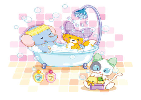 funny animals elephant,squirrel and cat in the bathroom Vector