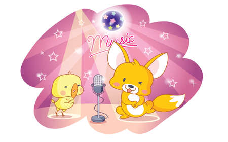 cute cartoon animals: cute cartoon animals squirrel and chicks party and singing  Illustration