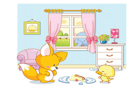 cute animals cartoon playing in the room Vector