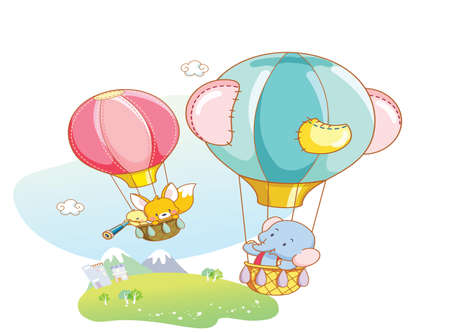 funny animals playing in the air with balloon Vector