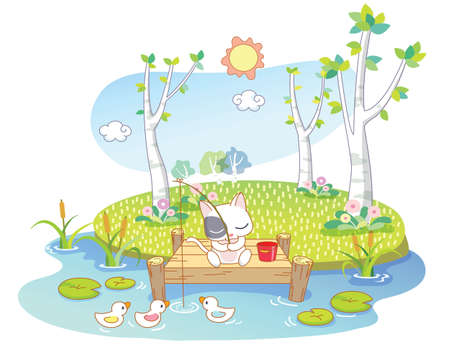 cute cat were fishing on the island Vector