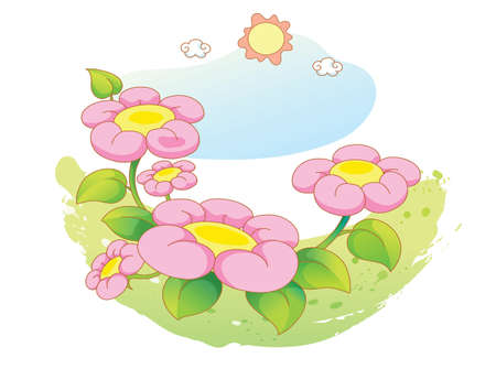 beautiful landscape flowers Vector