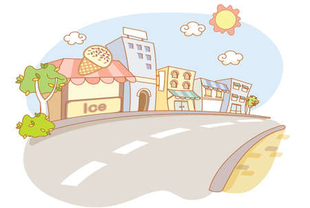 street and city cartoon Vector
