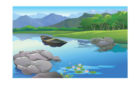 beautiful landscape in the lake Vector