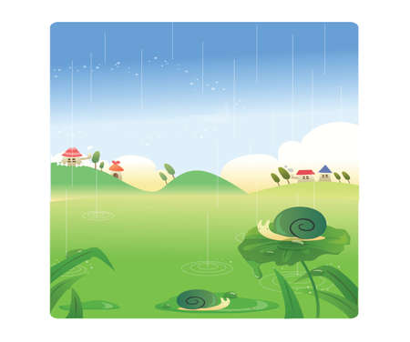 village scenery in the rain Vector