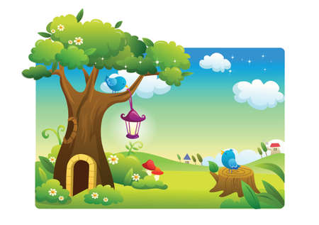 landscape beautiful and birds Vector