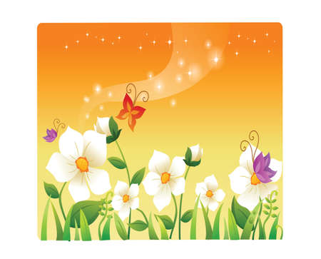 landscape beautiful flowers and butterflies Vector