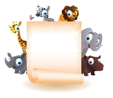 animals cartoon with blank board Vector