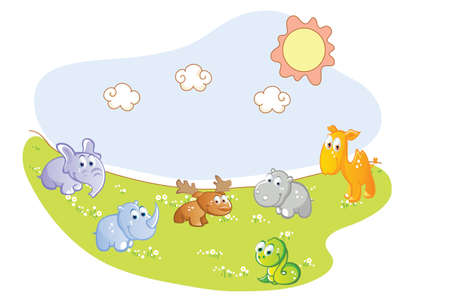 baby animals in the garden Vector