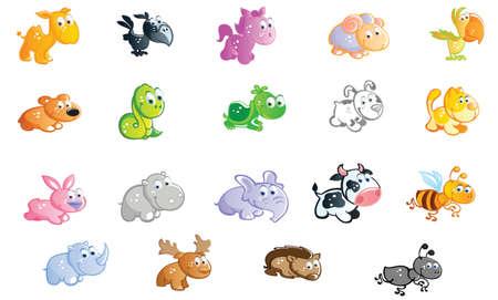 a big set of baby animals cartoon Vector