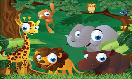 animals cartoon in the zoo Vector