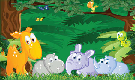 Baby animals cartoon in the jungle Vector