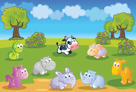 Baby animals cartoon with garden background Vector
