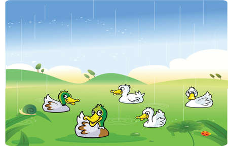 Ducks cartoon playing in the rain Vector