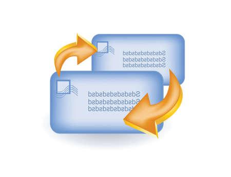 envelops: two envelops with arrow