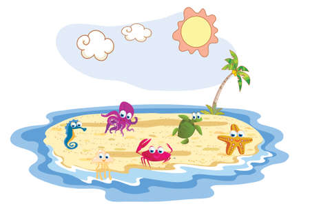 set of sea animal with beach background Vector