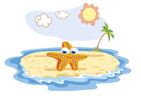 cushion sea star: starfish cartoon posing at the beach Illustration