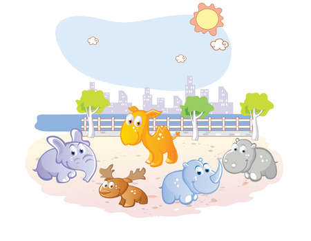 young animals cartoon at the park Vector
