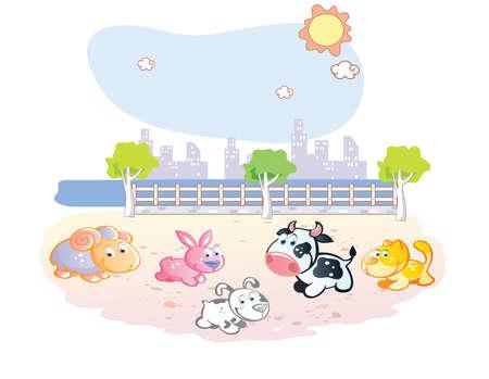 farm animals cartoon at the park Vector