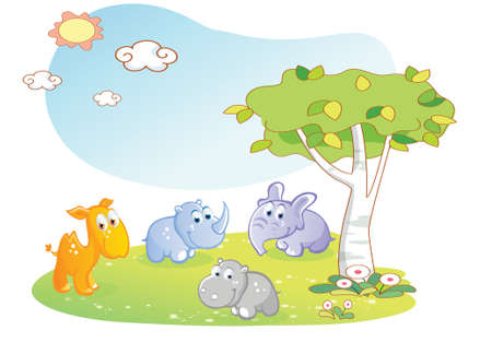 young animals cartoon with garden background Vector