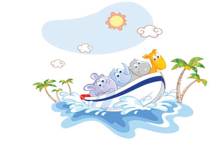 cute animals cartoon was a boat ride on the beach Vector