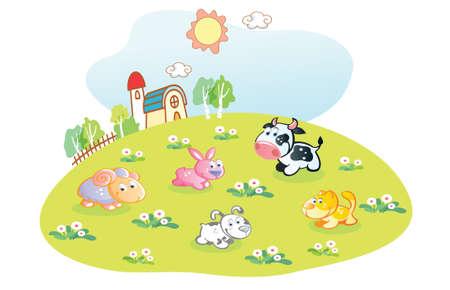 haus garten: Comic-Tiere in den Hausgarten Illustration