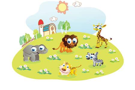 haus garten: wilde Tiere Karikatur in den Hausgarten Illustration