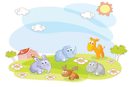 young animals in the summer Vector