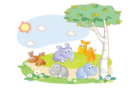 young animals playing in the garden Vector