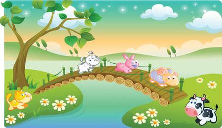 beaux paysages: animaux de la ferme en jouant avec de beaux paysages